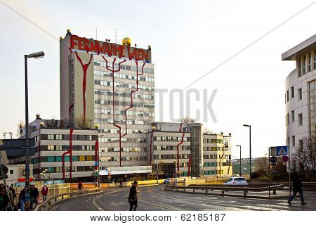 VIENNA AUSTRIA - NOVEMBER 26: The District heating in Vienna of artist Hundertwasser on November 26 2010 in Vienna Austria. It was inaugurated in 1992 and heats 60000 apartments.