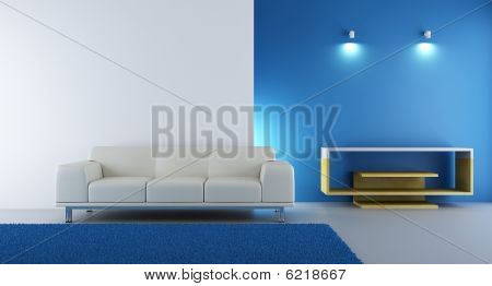Living Room Setting - white couch to face a blank wall poster