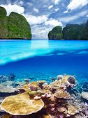 Beautiful lagoon with coral reef bottom underwater and above water split view poster