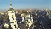 Temple of St. Sergius Radonezhsky (Trinity) in Rogozhskaya Sloboda and Andronievskaya square at winter, Moscow, Russia. Aerial view poster