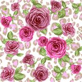Fashion animal pattern and flowers. Roses on repeating leopard background  poster