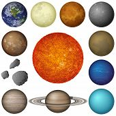 Space set of isolated planets and objects of Solar System: Sun, Earth, Moon, Venus, Mercury, Mars, Pluto, Phobos, Deimos, Gaspra, Neptune, Jupiter, Saturnand Uranus. Elements furnished by NASA (http://solarsystem.nasa.gov) poster
