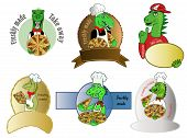 6 different logo designs of dinosaurs holding a pizza, labels are left blank for  your text. poster