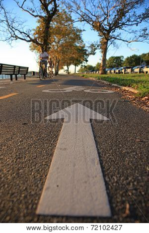 Bicycle lane in the autumn park