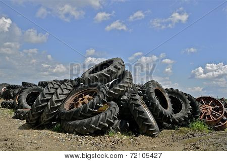 Pile of huge tractor tires