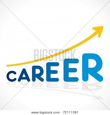 creative career word growth graph vector