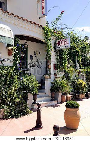 Facade Of A Nice Little Hotel In Saintes-maries-de-la-mer