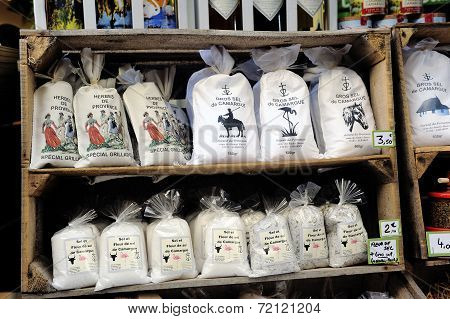 Bags Of Salt Produced In The Camargue