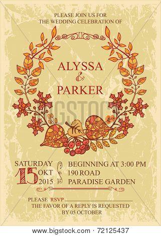 Vintage fall wedding invitation with leaves wreath