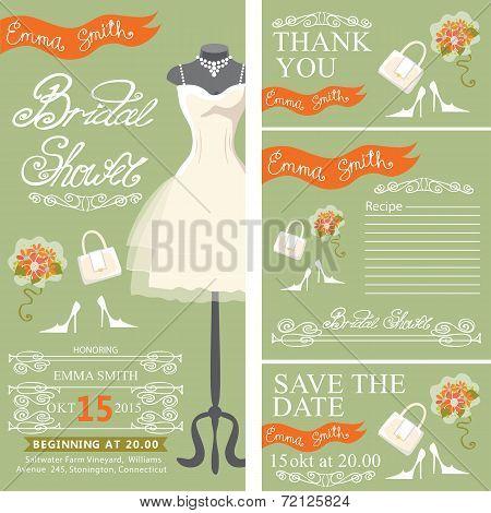 Bridal shower invitationset with bridal dress