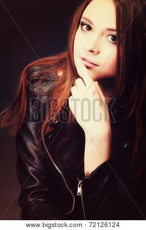 People Concept - Teenage Fashion Girl Portrait