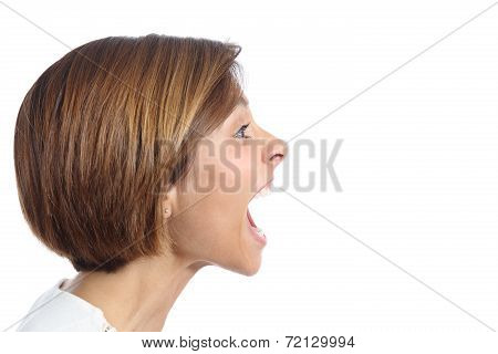 Profile Of An Angry Young Woman Shouting