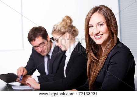 Happy Smiling Woman In Business Meeting