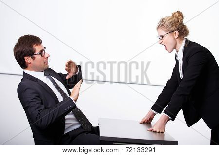 Female Boss Mad For Employee