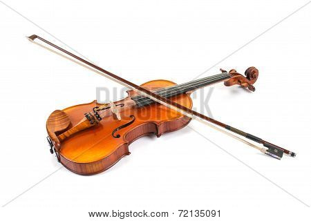 Violin with bow on white