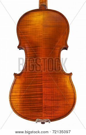 The back of a violin isolated on white