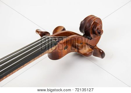 The scroll and pegs of a fine violin