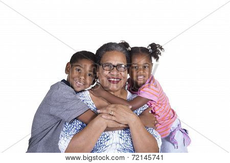 Grandmother and her grandchildren bonding isolated on a white background
