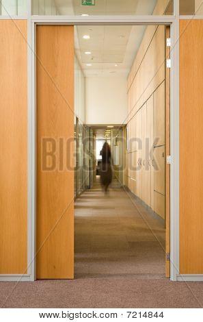 Woman Silhouette In Corridor