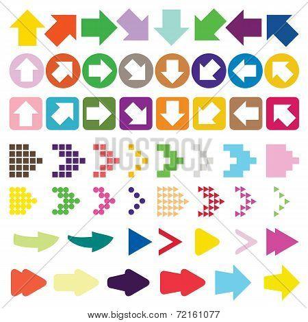 Set Of Arrow Color Full Vector