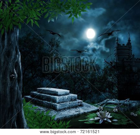 Tombstone In Celebration Of Halloween On The Background Of The Moonlit Night