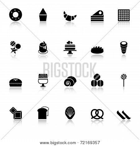 Variety Bakery Icons With Reflect On White Background