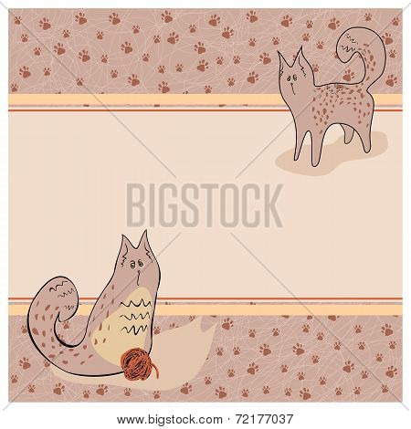 Frame with lazy cats, ball marks from legs poster