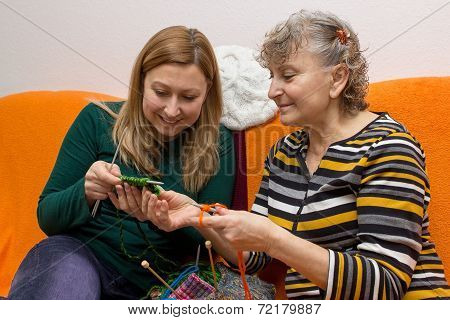 Young And Old While Knitting