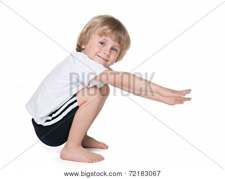 Preschool Boy Performs Exercises