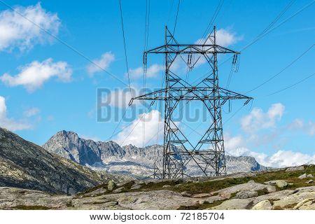 High Voltage Pylon On Gotthard Pass (switzerland)