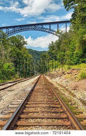 Railroad And Big Bridge