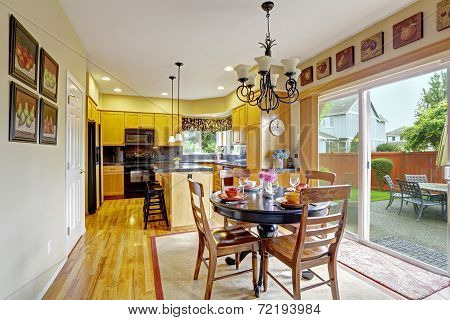 Kitchen With Dining Area And Exit To Backyard