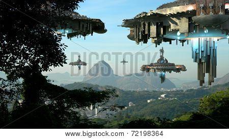 Alien spaceships invading Rio De Janeiro