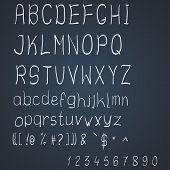Vector scribble alphabet on a dark blue background poster
