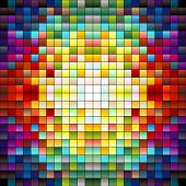 Colorful squares pixels or mosaic tiles gradient colors poster