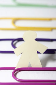 Little Paper Man And Paper Clips