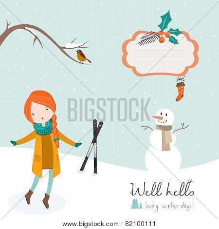 Girl dancing under falling snow