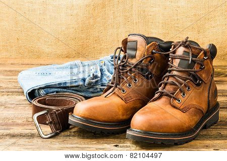 Men's Boots, Jeans And Belt