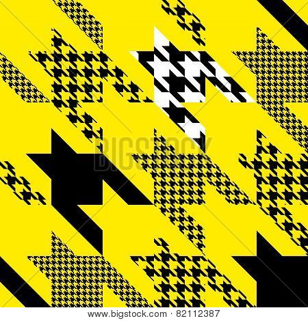 Seamless Hounds-tooth pattern of Hounds-tooth patterns in yellow color. poster