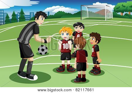 A vector illustration of little kids in soccer field listening to their coach poster