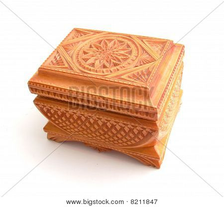 Wooden Casket With A Carving