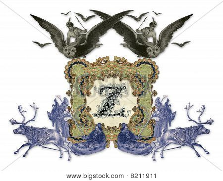 Luxuriously illustrated old capital letter Z with two girl flying to the two owl and two hunter. poster
