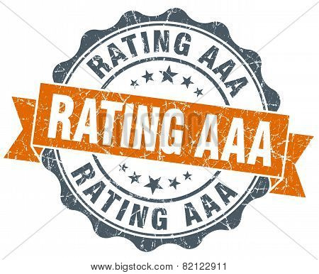 rating aaa vintage orange seal isolated on white poster