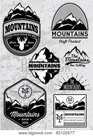 Set Of Templates For Emblems With Mountains
