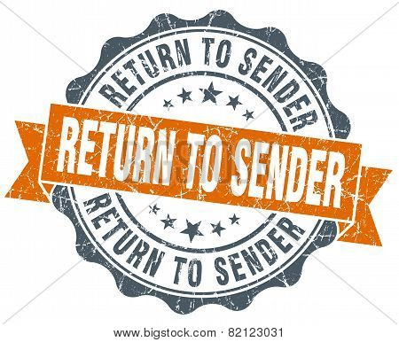 Return To Sender Vintage Orange Seal Isolated On White