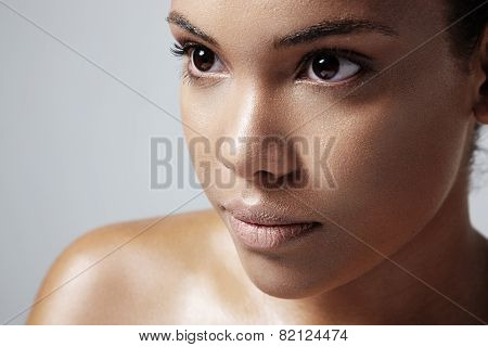 Closeup Of A Woman;s Face With An Oily Skin