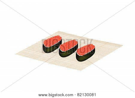 Red Caviar Salmon Roe Roll On Bamboo Mat