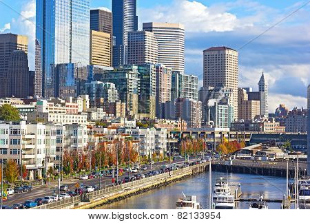 Seattle waterfront on a sunny autumn afternoon