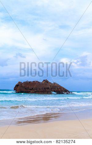 Wreck Boat On The Coast Of Boa Vista In Cape Verde