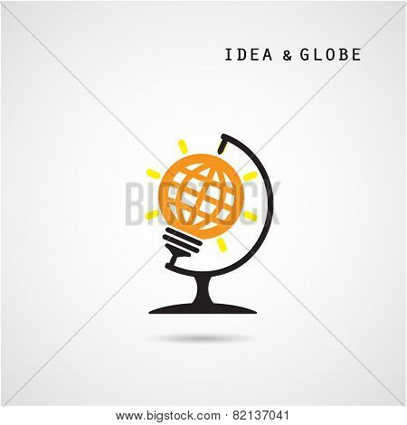 Creative Bulb Abstract Vector Logo Design And Globe Sign.